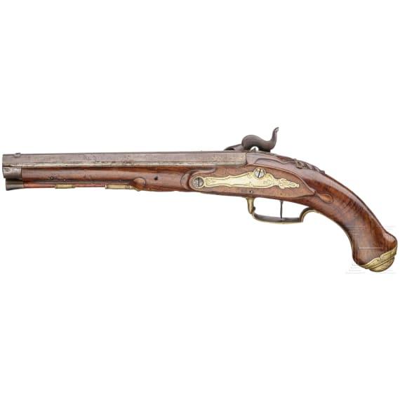 A German percussion pistol, circa 1780