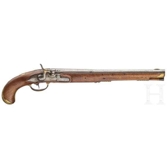 Lange Perkussionspistole mit osmanischem Damastlauf, deutsch, um 1780