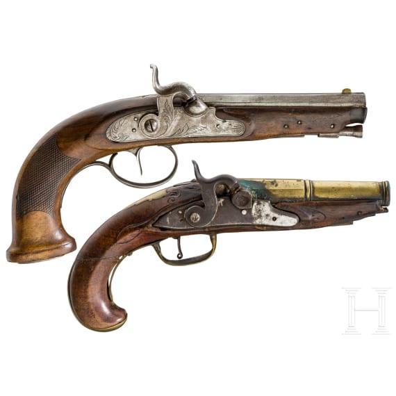 Zwei Perkussionspistolen, um 1760 und 1800