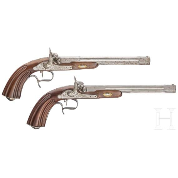 Ein Paar Perkussionspistolen im Kasten, Spanien, schussfähige Repliken im Stil um 1850