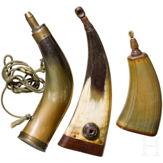 Two powder flasks and a powder horn, German, 18th/19th century