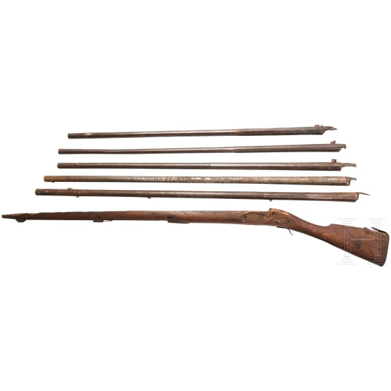 Five barrels and an unmachined stock, 18th/19th century