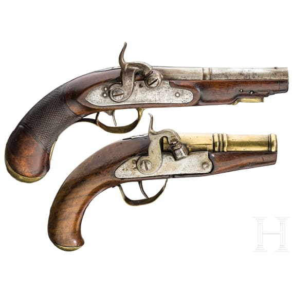 Two percussion pistols, German or Flemish, around 1780/1800