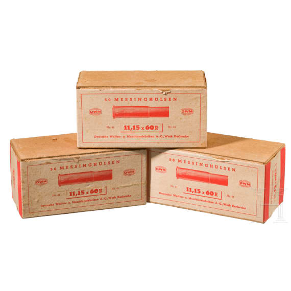 Three Cardbord-Boxes by DWM with 50 cases each of 11 mm Mauser M 71